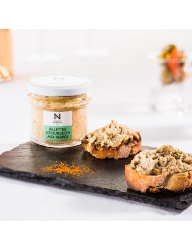 Sturgeon rillettes with herbs