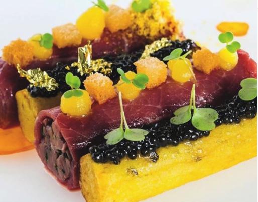 Cannellonis de Boeuf et huitres, pommes de terre et Caviar
