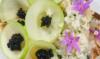 Tartare de Saint-Jacques, déclinaison de chou-fleur en textures, pomme et caviar de Neuvic